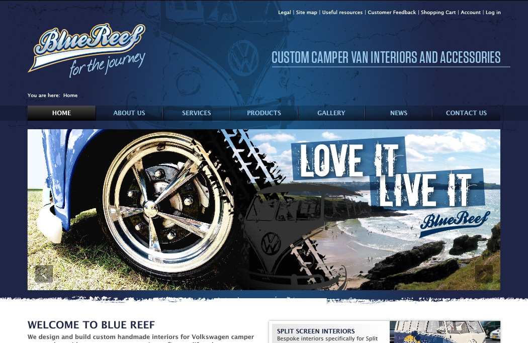 JQuery image design for the Blue Reef website
