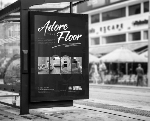6 sheet advert at a tram stop for Flooring Megastore