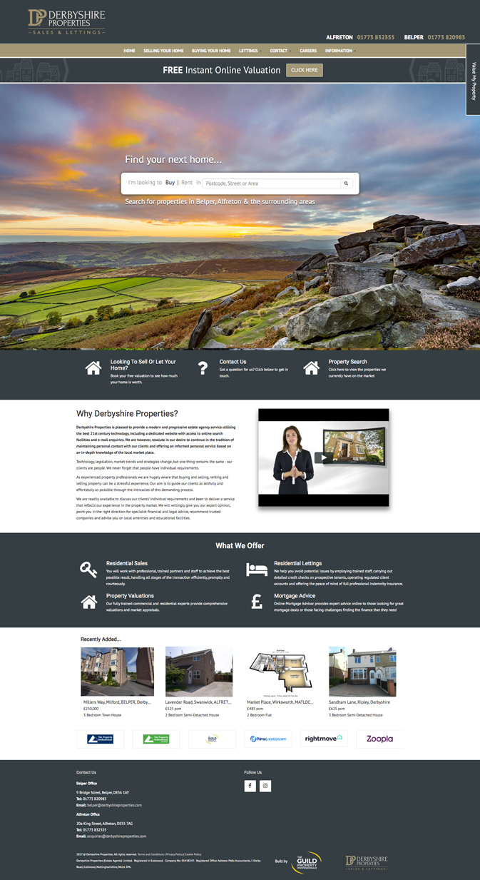 Derbyshire Properties Homepage