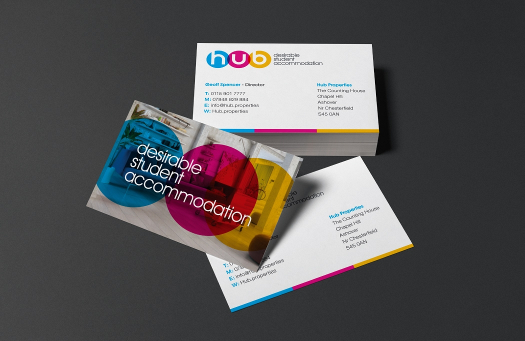 Business card design - Part of a logo design & branding project for Hub Properties by BLU:72 Creative