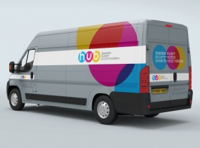Vehicle Wrap - Part of a logo design & branding project for Hub Properties by BLU:72 Creative